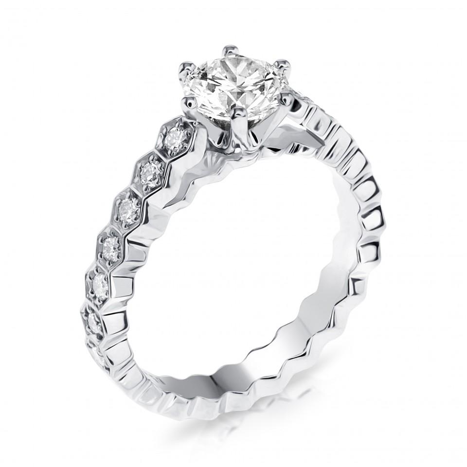 טבעת אירוסין מעוצבת משושים , לפרטים 072-2555227
